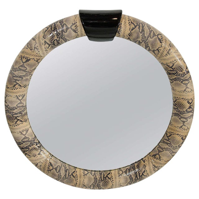 Mid-Century Modern Round Mirror Wrapped in Embossed Leather For Sale - Image 10 of 10