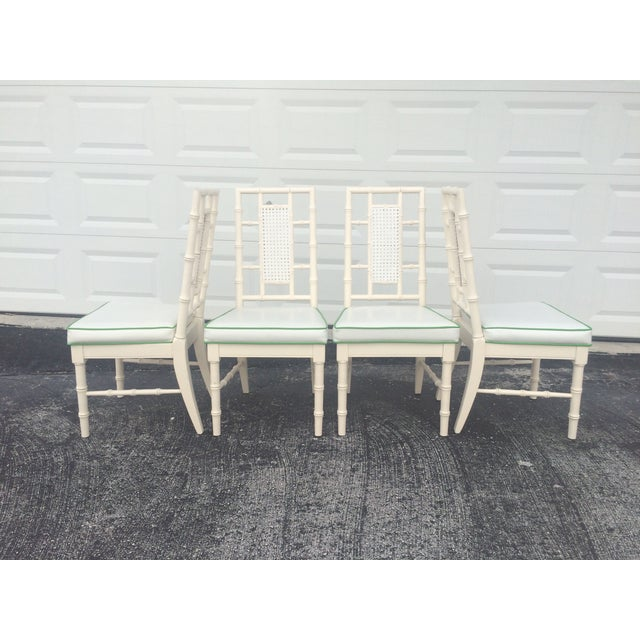 Faux Bamboo Dining Chairs With Cane Back - S/4 - Image 4 of 9