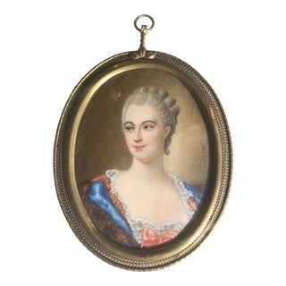 19th Century French Hand Painted Miniature Portrait Painting, Framed For Sale