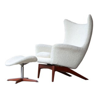 1950's Danish Modern Hw Klein for Bramin Chair and Ottoman For Sale