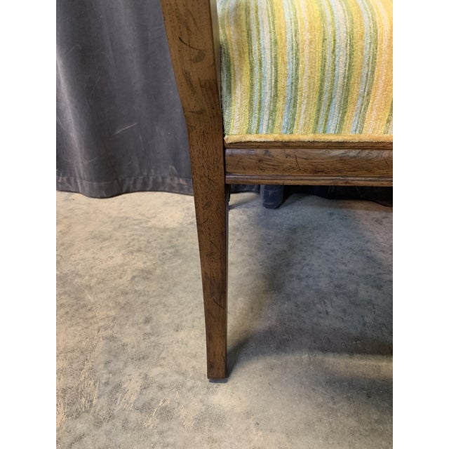 Wood Mid-Century Walnut and Striped Upholstered Drexel Chair For Sale - Image 7 of 10