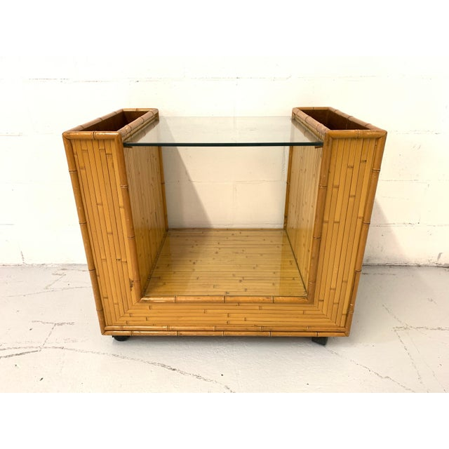 Wood Mid Century Split Reed Rattan Bar Cart For Sale - Image 7 of 9
