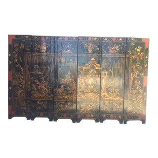 Late 19th Century Chirnoisezie 6 Panels Folding Screen For Sale