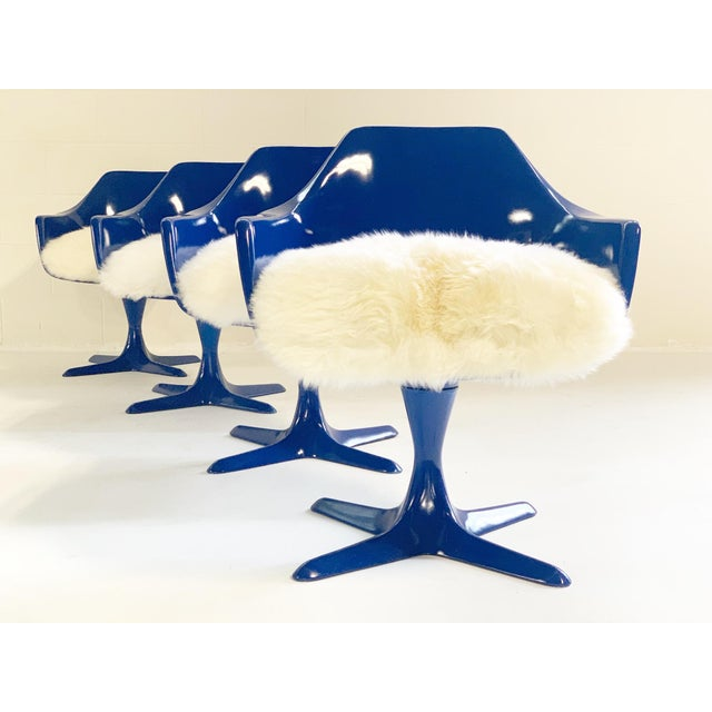 Blue Burke Tulip Armchairs With Brazilian Sheepskin Cushions - Set of 4 For Sale - Image 8 of 8