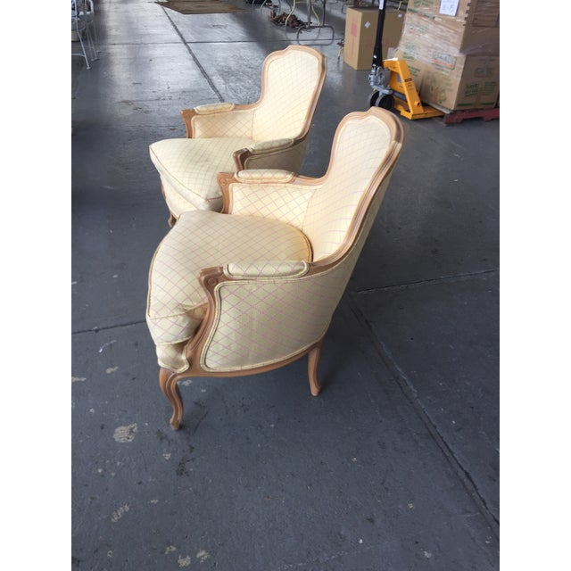 French Vintage Cream and Pink Striped French Style Bergere Chairs - a Pair For Sale - Image 3 of 9