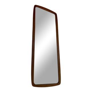 Large Danish Modern Teak Mirror With Brass Inlays For Sale
