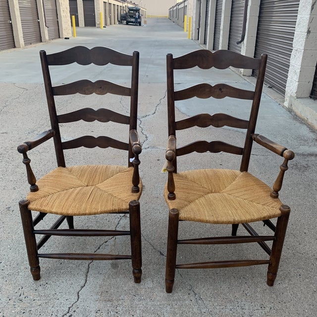 1980s Vintage French Provincial Ladder-Back Armchairs- a Pair For Sale - Image 10 of 13