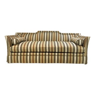 Traditional Hickory White Earth Tone Striped Sofa For Sale