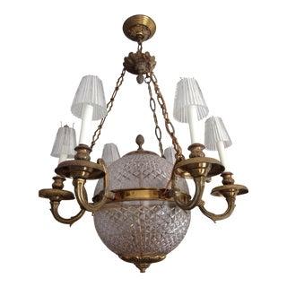 6 Light Brass Crystal Globe Chandelier