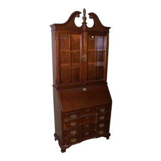 20th Century Chippendale Jasper Secretary Cabinet Solid Cherry Style Drop Front Secretary For Sale