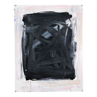 """""""Black Gray in Pinkish Edge"""" Contemporary Abstract Mixed-Media Painting by Robbie Kemper For Sale"""