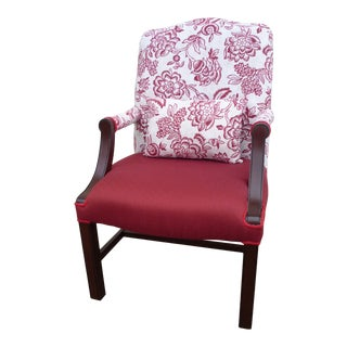 Mid-Century Red Paisley/Ivory Chippendale Chair For Sale