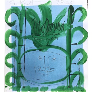 'Green Onion Blues' Framed Picasso Poster Painting by Sean Kratzert For Sale