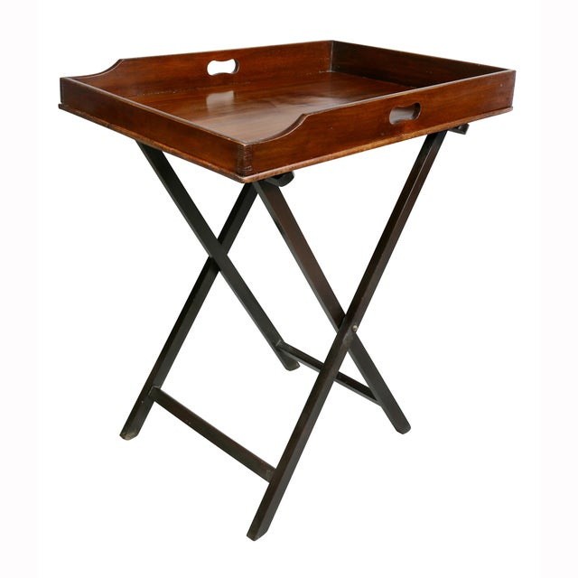 Brown Victorian Mahogany Tray Table on Stand For Sale - Image 8 of 8