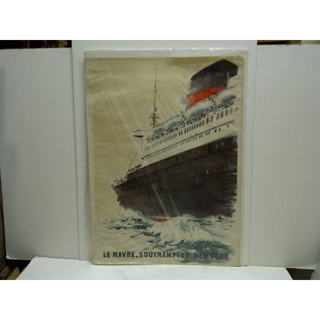 """This is a Vintage -- French Poster -- Titled """"Le Havre"""" -- Southampton -- New York -- By -- A. Brenet -- Circa 1940"""