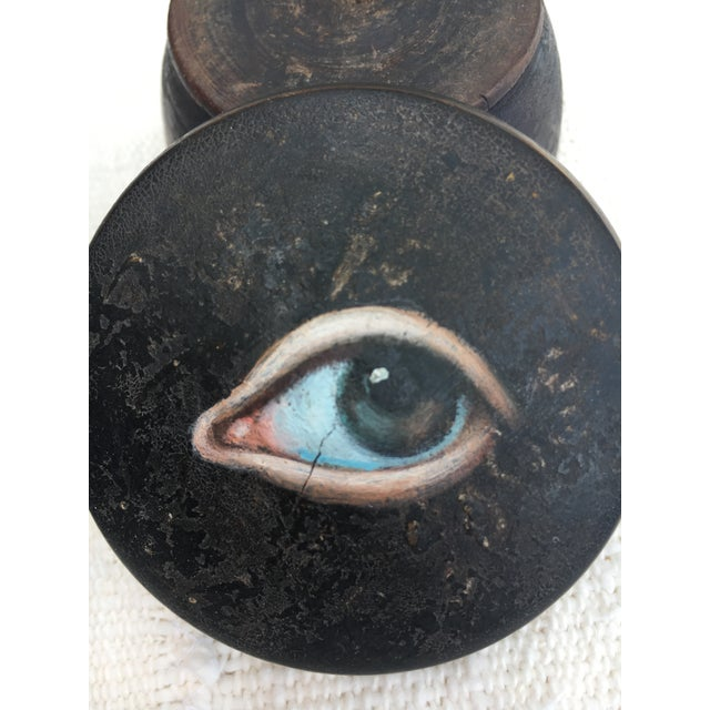 Wood Antique Chinese Geisha Face Powder Box W/ Eye For Sale - Image 7 of 9