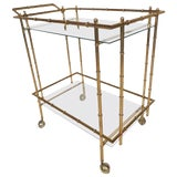 Image of Mid-Century Modern Hollywood Regency Style Brass Faux Bamboo Bar Cart For Sale