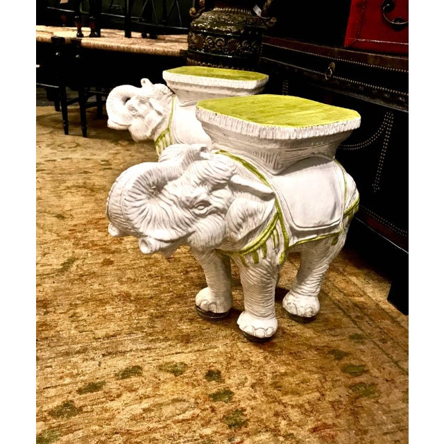 This is a great pair of c.1960s Italian ceramic garden stools or tables. These highly decorative white toned elephants are...