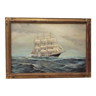 George Wheatley (American, B.1895) Clipper Ship Oil Painting C.1930s For Sale