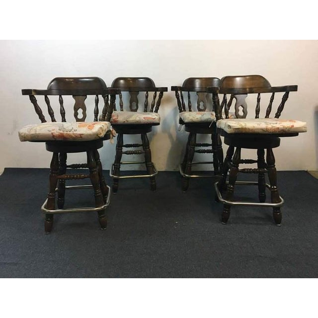 Windsor Style Carved Walnut & Metal Bar Stools - Set of 4 - Image 3 of 5