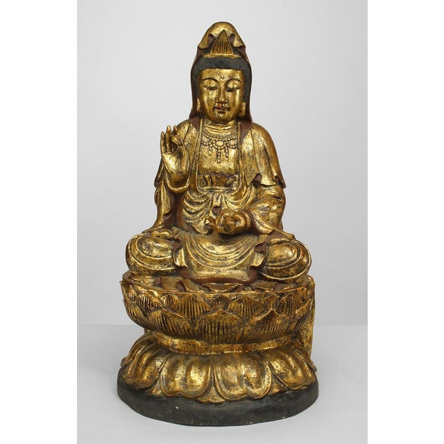 Asian Chinese Gilt Carved Figure of Seated Guan Yin Buddha on a Lotus Base For Sale In New York - Image 6 of 6