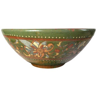 Large Vintage Hand Crafted Mexican Art Pottery Bowl For Sale