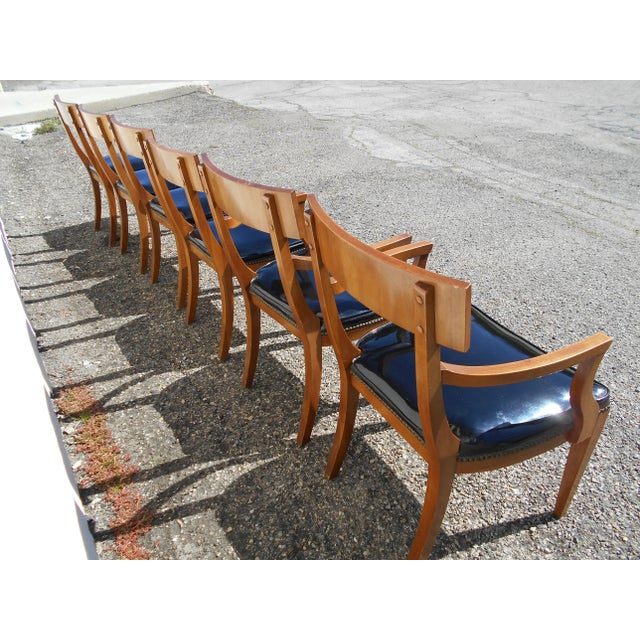 Mid-Century Patent Leather Dining Chairs - Set of 6 - Image 6 of 11