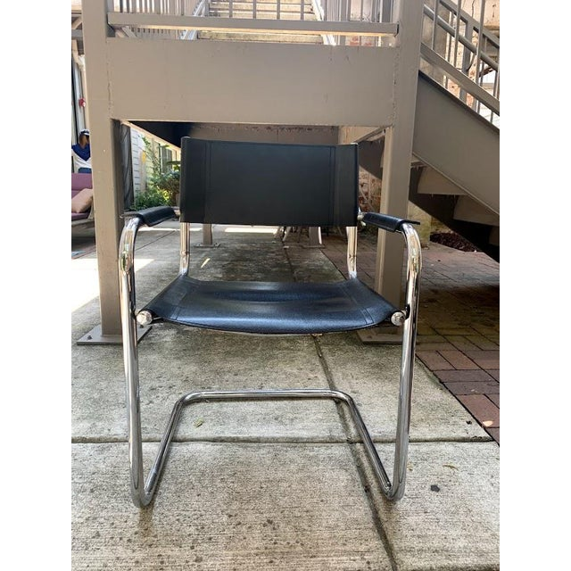 Black Mid-Century Modern Mart Stam Chrome & Black Cantilever Chairs With Dining Table Set - 5 Pieces For Sale - Image 8 of 9