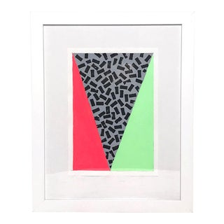 Contemporary Geometric Neon Green and Red Framed Painting For Sale