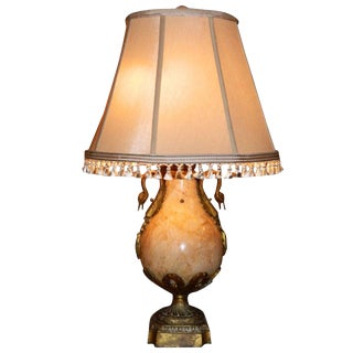 Empire Style Marble and Bronze Lamp, Circa 1920s For Sale