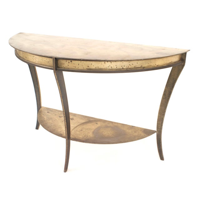 Mid-Century Modern Pair of American Mid-Century Demilune Console Tables For Sale - Image 3 of 5
