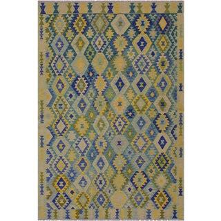 Bohemian Bella Green/Blue Hand-Woven Kilim Wool Rug - 6'6 X 9'9 For Sale