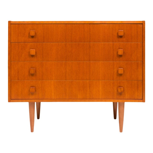 Vintage Danish Mid-Century Teak Four Drawer Dresser For Sale