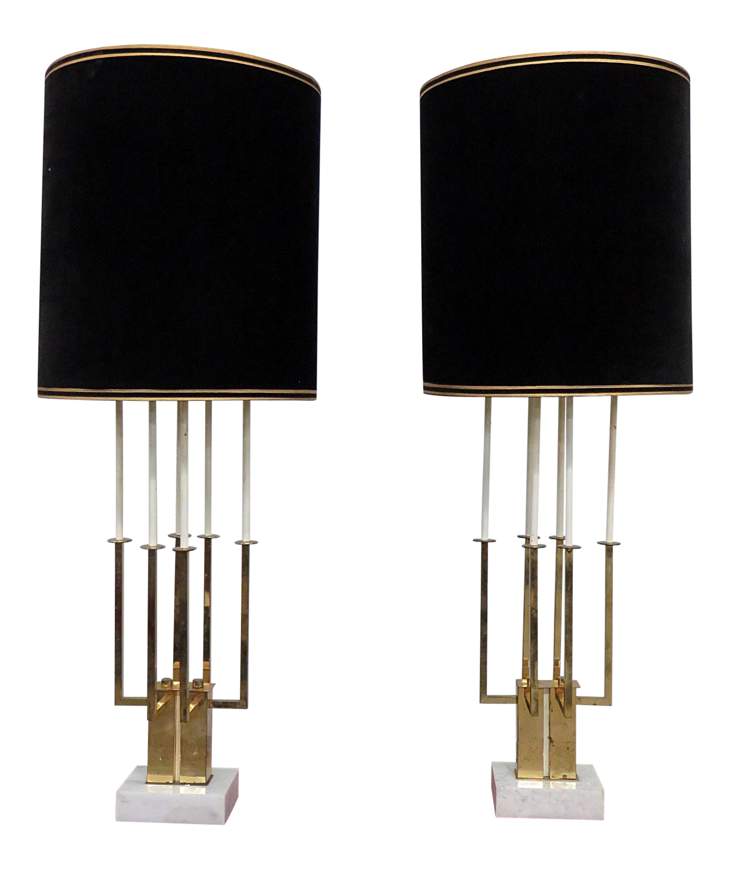 World Class Pair Of Mid Century Modern Table Lamps Decaso