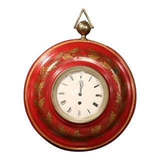 19th Century, French Napoleon III Red Painted Tole Wall Clock with Laurel Wreath