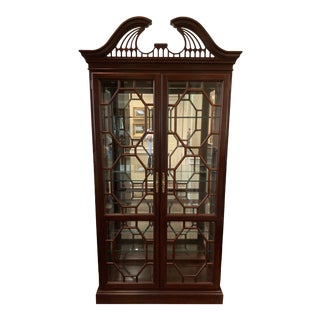 Vintage Chippendale Curio Display Case For Sale