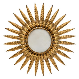 French Embossed Tole Sunburst Wall Light For Sale