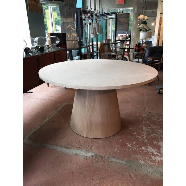 Travertine and White Oak Center Table For Sale - Image 4 of 5