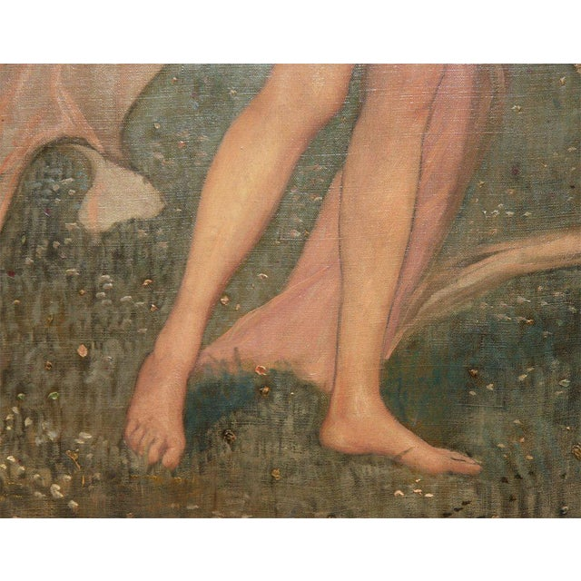 """Realism Art Nouveau Painting by Alexander Goltz, """"Fruhling"""" For Sale - Image 3 of 8"""