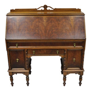Early 20th Century Antique Burl Walnut Jacobean Style Secretary Desk