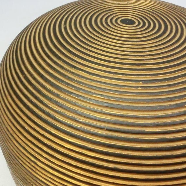 1960s Japanese Ceramic Gilded Gold Black Lidded Container Dome Shape Art Deco Style Box Asian For Sale - Image 5 of 12
