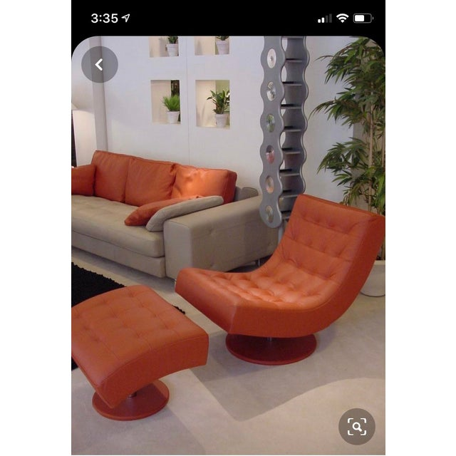 Post Modern Italian Leather Roche Bobois Swivel Lounge Chair and Ottoman For Sale - Image 11 of 12