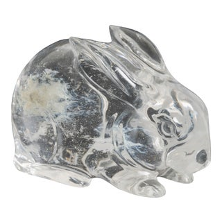 Rabbit in Hand Carved Crystal by Robert Kuo, Limited Edition For Sale