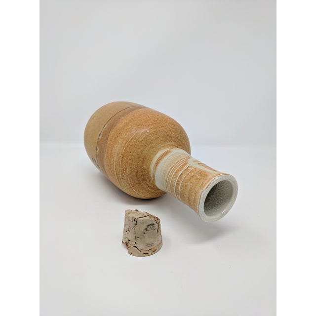 Mid 20th Century Vintage Studio Pottery Bottle With Stopper For Sale - Image 5 of 7