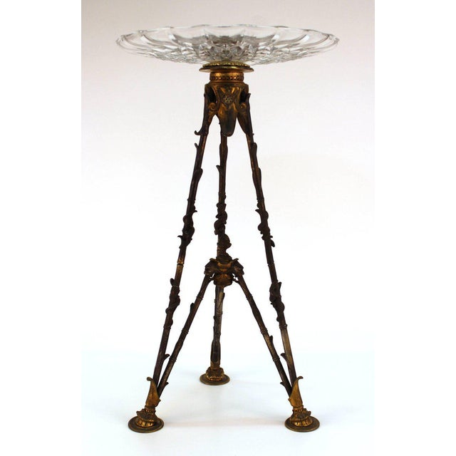 Late 19th Century Antique Victorian French Pastry Holders on Tripod Bronze Bases and Val St. Lambert Glass - a Pair For Sale - Image 5 of 11