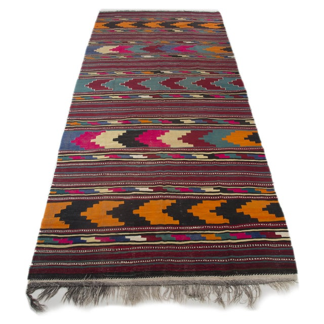 "Turkish Kilim Flat-Weave Runner Rug - 6'2"" x 14' - Image 1 of 8"