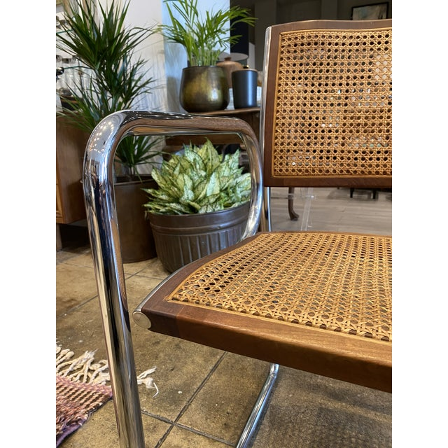 Vintage Chrome and Cane Chairs - a Pair For Sale - Image 4 of 9