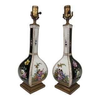 Dresden Style Porcelain Lamps - a Pair For Sale