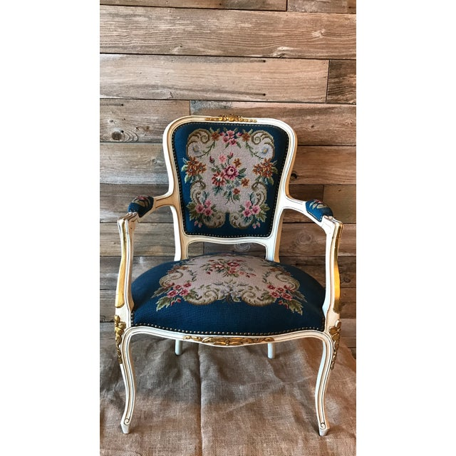 French Needle Point Arm Chair (2 Available) - Image 2 of 6