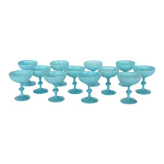 Portieux Vallerysthal French Blue Opaline Glassware - Set of 12 For Sale